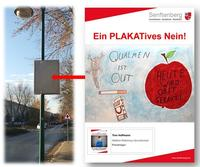 Ein PLAKATives Nein auf Senftenberger Plakathaltern