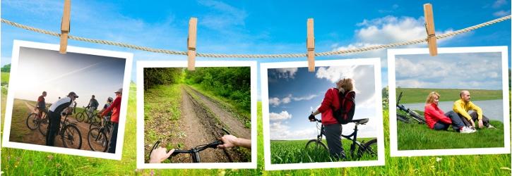 Landschaft mit Bildern von Radwegen Foto Fotolia